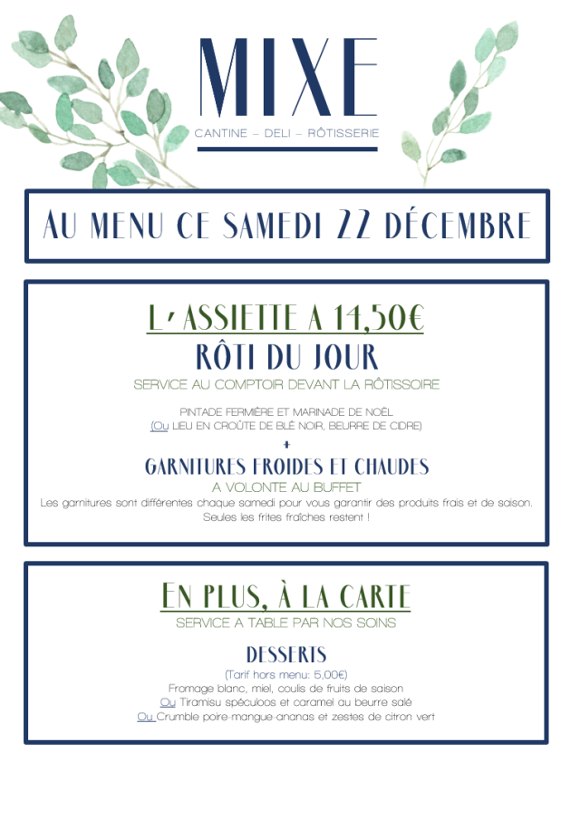 Au menu ce samedi 22 décembre