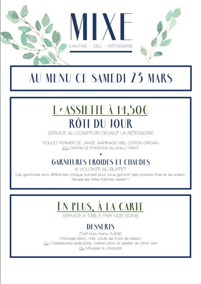 Au menu ce samedi 23 mars