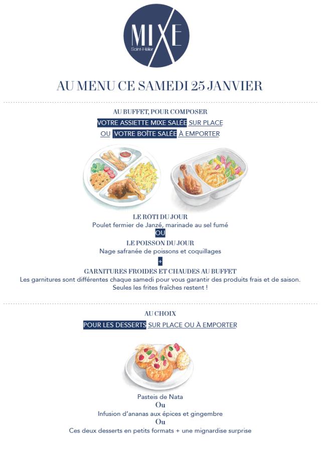 Au menu ce samedi 25 janvier